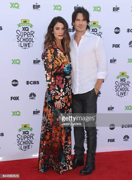Actress Nikki Reed and actor Ian Somerhalder attend XQ Super School Live at The Barker Hanger on September 8 2017 in Santa Monica California