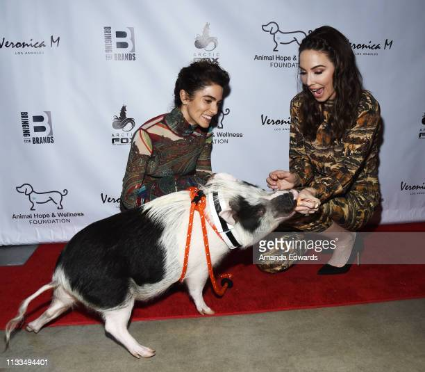 Actress Nikki Reed Pickles the Pig and comedian Whitney Cummings attend The Animal Hope Wellness Foundation's 2nd Annual Compassion Gala at Playa...