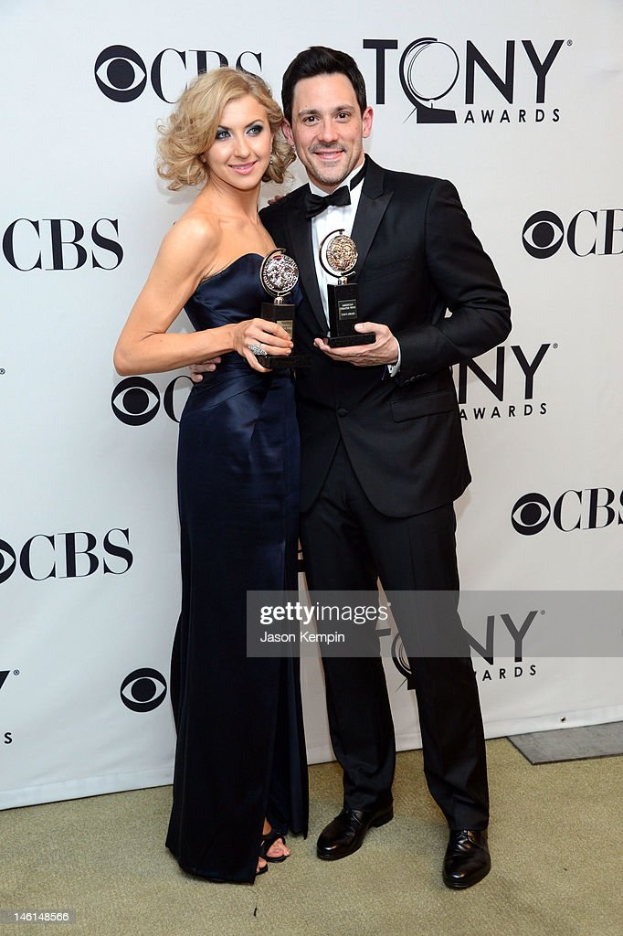 Actress Nina Arianda, winner of Best Performance by a Leading Actress in a Play for 'Venus in Fur' and actor Steve Kazee, winner of Best Performance by a Leading Actor in a Musical for 'Once' pose in the 66th Annual Tony Awards press room at The Beacon Theatre on June 10, 2012 in New York City.