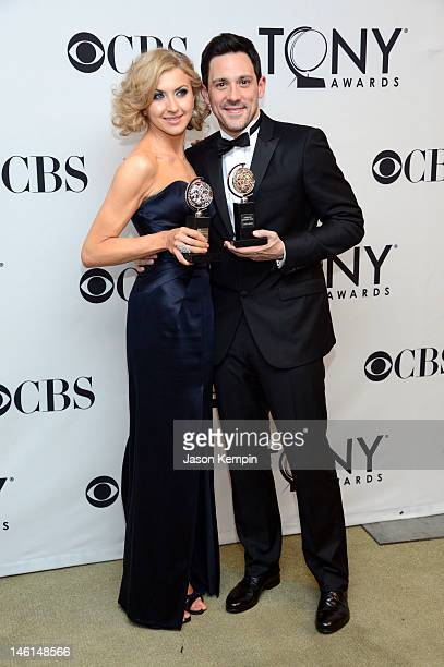 Actress Nina Arianda winner of Best Performance by a Leading Actress in a Play for 'Venus in Fur' and actor Steve Kazee winner of Best Performance by...