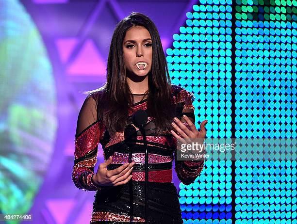 Actress Nina Dobrev accepts the Choice TV Actress: Fantasy/Sci-Fi Award for 'Vampire Diaries' onstage during the Teen Choice Awards 2015 at the USC...