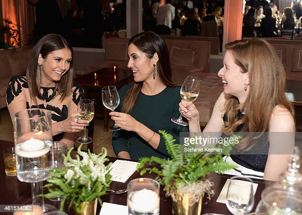 Actress Nina Dobrev agent Tracy Brennan and actress Lennon Parham attend ELLE's Annual Women in Television Celebration on January 13 2015 at Sunset...