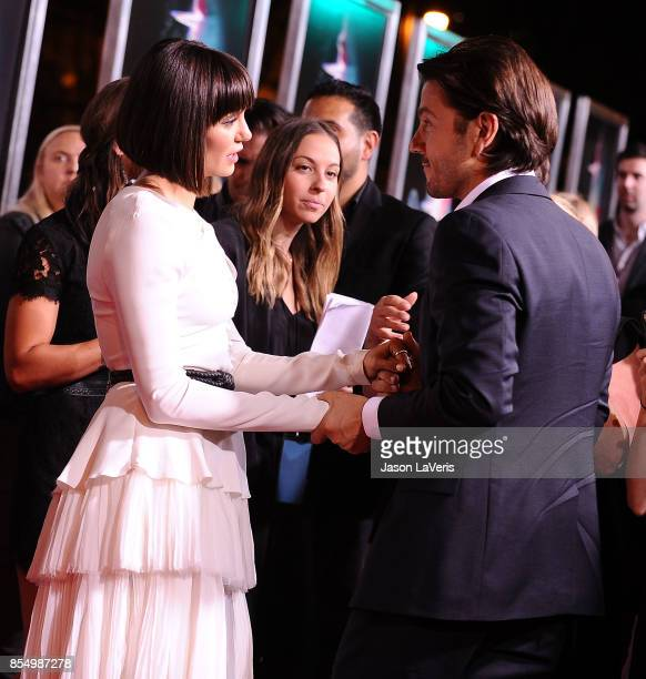 Actress Nina Dobrev and actor Diego Luna attend the premiere of 'Flatliners' at The Theatre at Ace Hotel on September 27 2017 in Los Angeles...