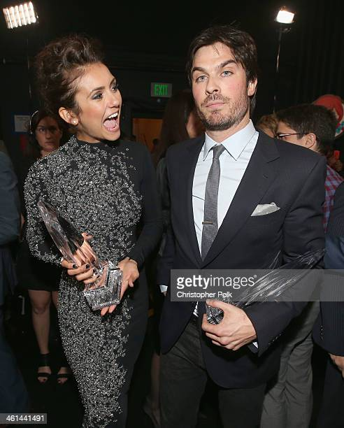Actress Nina Dobrev and actor Ian Somerhalder attend The 40th Annual People's Choice Awards at Nokia Theatre LA Live on January 8 2014 in Los Angeles...