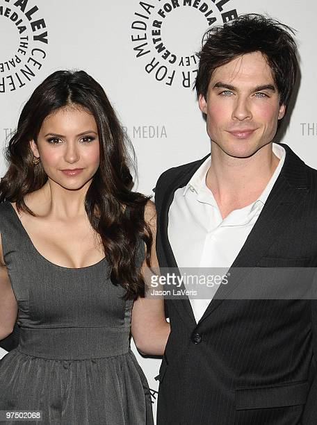 Actress Nina Dobrev and actor Ian Somerhalder attend The Vampire Diaries event at the 27th annual PaleyFest at Saban Theatre on March 6 2010 in...