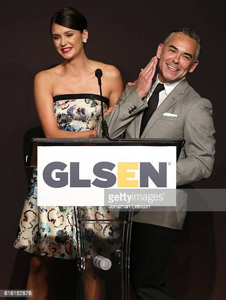 Actress Nina Dobrev and Senior VP of Brand and Category Marketing of Target Rick Gomez attends the 2016 GLSEN Respect Awards Los Angeles at the...