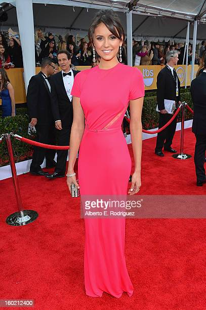 Actress Nina Dobrev arrives at the 19th Annual Screen Actors Guild Awards held at The Shrine Auditorium on January 27, 2013 in Los Angeles,...