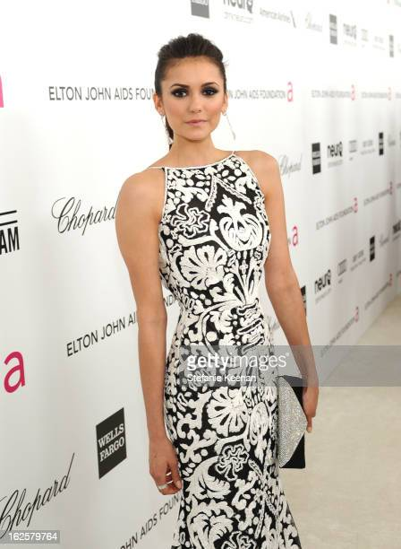 Actress Nina Dobrev attends Chopard at 21st Annual Elton John AIDS Foundation Academy Awards Viewing Party at West Hollywood Park on February 24 2013...