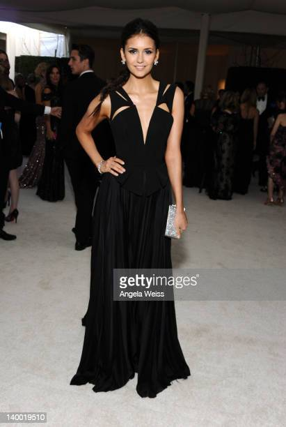 Actress Nina Dobrev attends CIROC Vodka at 20th Annual Elton John AIDS Foundation Academy Awards Viewing Party at The City of West Hollywood Park on...