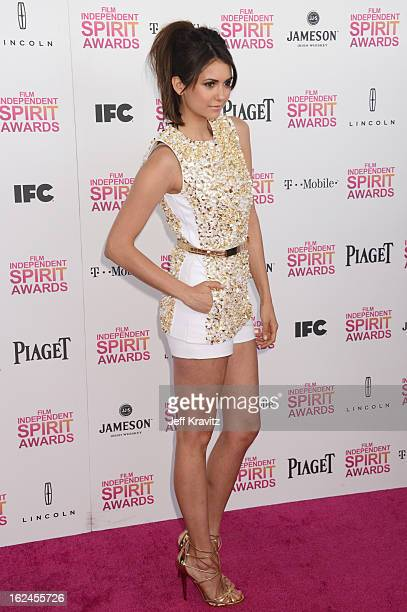 Actress Nina Dobrev attends the 2013 Film Independent Spirit Awards at Santa Monica Beach on February 23 2013 in Santa Monica California