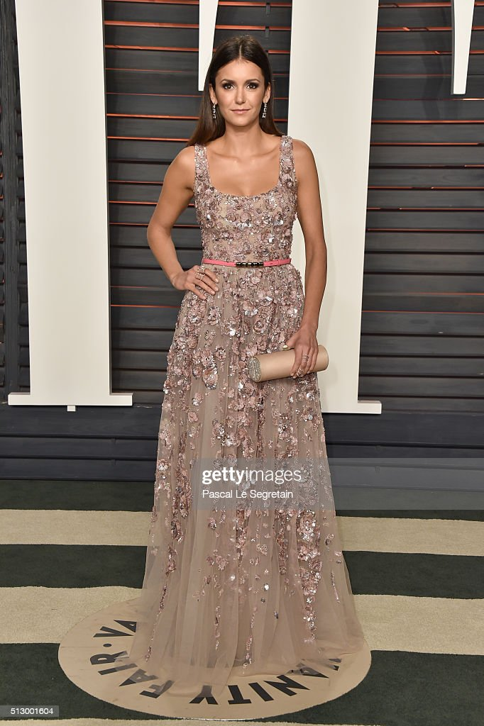 Actress Nina Dobrev attends the 2016 Vanity Fair Oscar Party Hosted By Graydon Carter at the Wallis Annenberg Center for the Performing Arts on February 28, 2016 in Beverly Hills, California.
