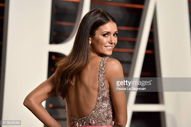Actress Nina Dobrev attends the 2016 Vanity Fair Oscar Party Hosted By Graydon Carter at the Wallis Annenberg Center for the Performing Arts on...