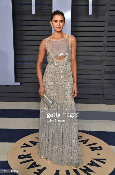 Actress Nina Dobrev attends the 2018 Vanity Fair Oscar Party hosted by Radhika Jones at Wallis Annenberg Center for the Performing Arts on March 4...