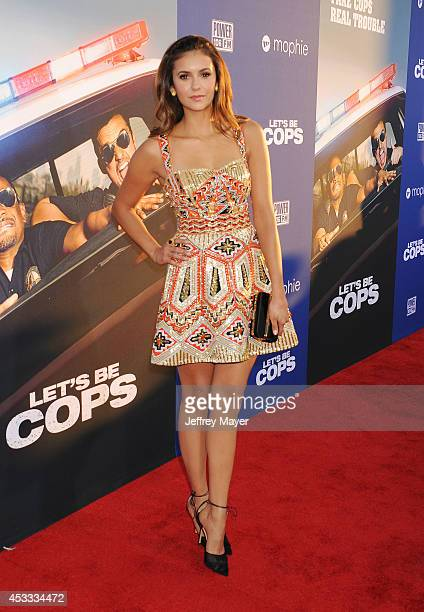 Actress Nina Dobrev attends the 'Let's Be Cops' Los Angeles Premiere held at the ArcLight Hollywood on August 7, 2014 in Hollywood, California.