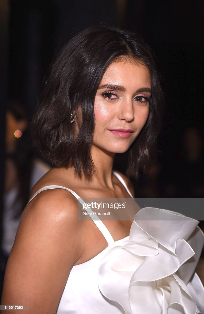 Actress Nina Dobrev attends the Marchesa fashion show during New York Fashion Week at Gallery 1, Skylight Clarkson Sq on September 13, 2017 in New York City.