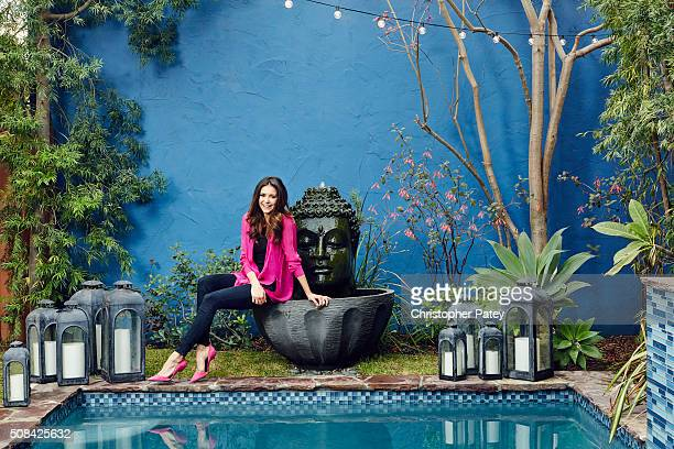 Actress Nina Dobrev is photographed in her home for Domaine Home on December 23 2015 in Los Angeles California Published Image