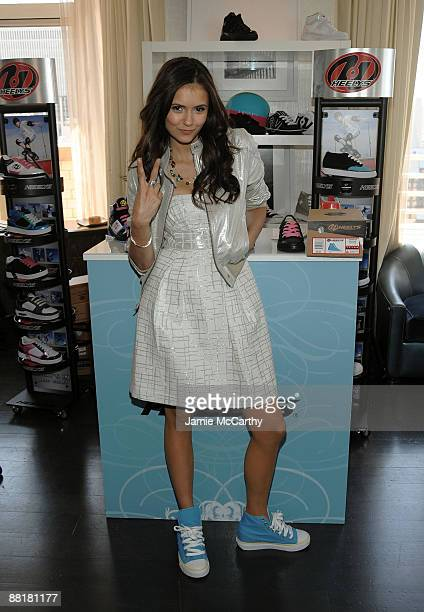 Actress Nina Dobrev poses at the Lia Sophia Upfront Suite at The London Hotel on May 21 2009 in New York City