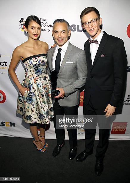 Actress Nina Dobrev Senior VP of Brand and Category Marketing of Target Rick Gomez and student ambassador Matt Nadel attends the 2016 GLSEN Respect...