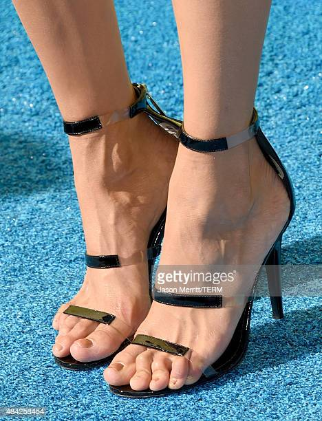 Actress Nina Dobrev shoe detail attends the Teen Choice Awards 2015 at the USC Galen Center on August 16 2015 in Los Angeles California