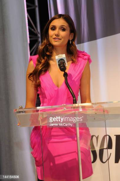 Actress Nina Dobrev speaks onstage at the event where she launches Like Her Like Me and searches for the next Mother Daughter Milk Mustache Got Milk...