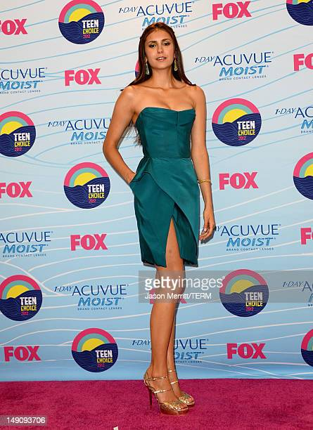 Actress Nina Dobrev winner of Choice Fantasy/SciFi Show award poses in the press room during the 2012 Teen Choice Awards at Gibson Amphitheatre on...