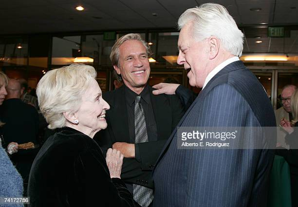 Actress Nina Foch director Randall Kleiser and film historian Robert Osborne attend the AMPAS Centennial Celebration for Barbara Stanwyck on May 16...