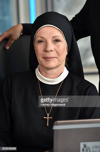 Actress Nina Hoger during a photocall for the tv show 'Um Himmels Willen' at Literaturhaus on May 24 2016 in Munich Germany