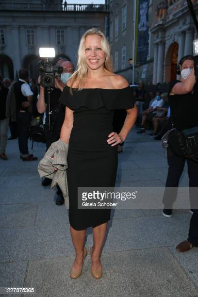 Actress Nina Proll wife of Gregor Bloeb at the premiere of Jedermann during the opening of the Salzburg Festival 2020 at Salzburg State Theatre on...