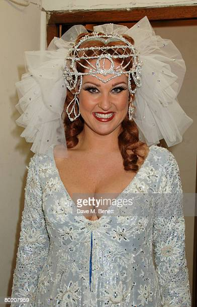 Actress Nina Soderquist poses backstage following Alan Dale's first night as King Arthur in Spamalot at the Palace Theatre March 11 2008 in London...
