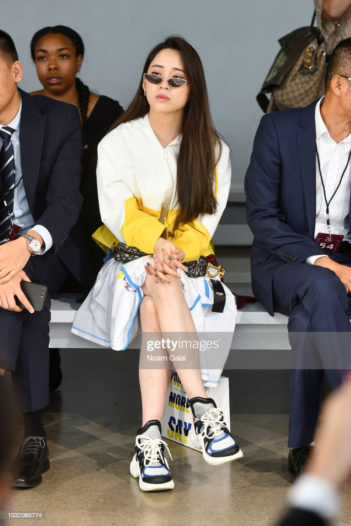 Actress Nini Ouyang attends the Semir X CJ Yao front Row during New York Fashion Week: The Shows at Gallery II at Spring Studios on September 12, 2018 in New York City.