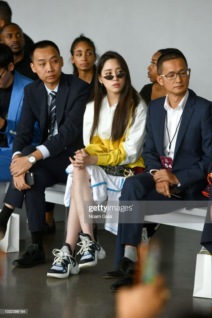 Actress Nini Ouyang (C) attends the Semir X CJ Yao front Row during New York Fashion Week: The Shows at Gallery II at Spring Studios on September 12, 2018 in New York City.
