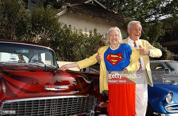 Actress Noel Neill and actor Jack Larson pose for a photograph at the 13th Annual Stater Bros Route 66 Rendezvous media day at Bob's Big Boy...