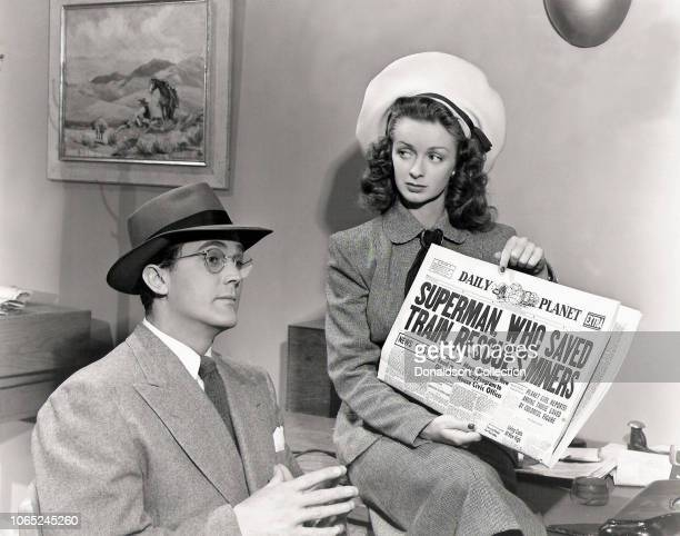 Actress Noel Neill and Kirk Alyn in a scene from the movie Adventures of Superman