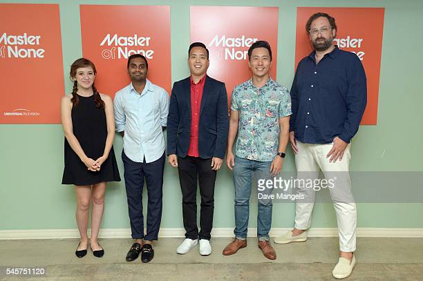 "Actress Noel Wells, creator/actor Aziz Ansari, writer/executive producer Alan Yang, actors Kelvin Yu and Eric Wareheim attend FYC @ UCB for ""Master..."