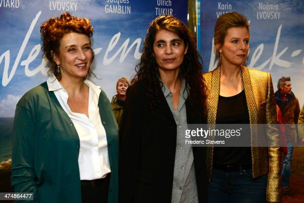Actress Noemie Lvovsky Director Anne Villaceque and actress Karine Viard attend the 'Weekend' Paris Premiere at UGC Cine Cite des Halles on February...