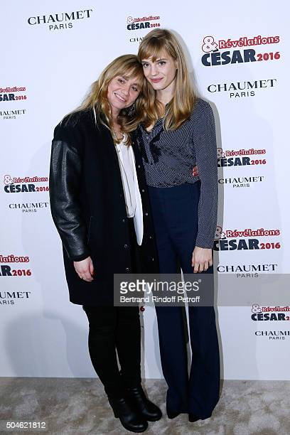 Actress Noemie Schmidt nominated for 'L'Etudiante et Monsieur Henri' and her sponsor Katell Quillevere attend the 'Cesar Revelations 2016' Photocall...