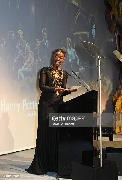 """Actress Noma Dumezweni, accepting the Best Play award with Hiscox for """"Harry Potter And The Cursed Child"""", speaks onstage at the 62nd London Evening..."""