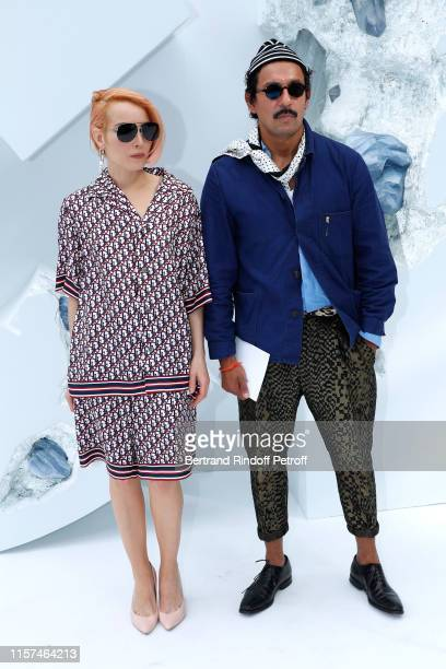 Actress Noomi Rapace and stylist Haider Ackermann attend the Dior Homme Menswear Spring Summer 2020 show as part of Paris Fashion Week on June 21,...
