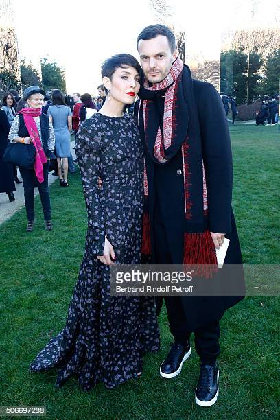 Actress Noomi Rapace and Stylist Kris Van Assche attend the Christian Dior Haute Couture Spring Summer 2016 show as part of Paris Fashion Week on...