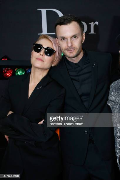 Actress Noomi Rapace and Stylist of Dior Men Kris Van Assche pose after the Dior Homme Menswear Fall/Winter 20182019 show as part of Paris Fashion...