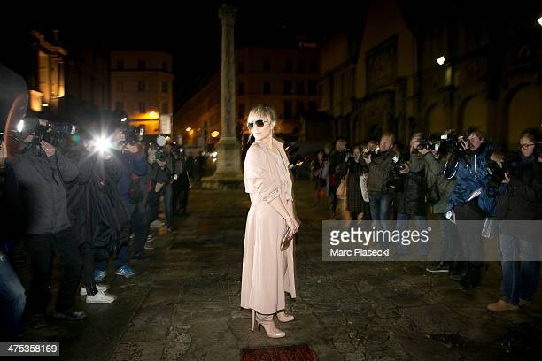 Actress Noomi Rapace attends the Lanvin show as part of the Paris Fashion Week Womenswear Fall/Winter 20142015 on February 27 2014 in Paris France