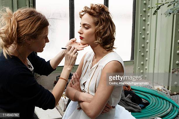 Actress Nora Arnezeder is photographed for Madame Figaro on April 5 2011 in Paris France Published image Figaro ID 100351047 Dress by Veronique Leroy...