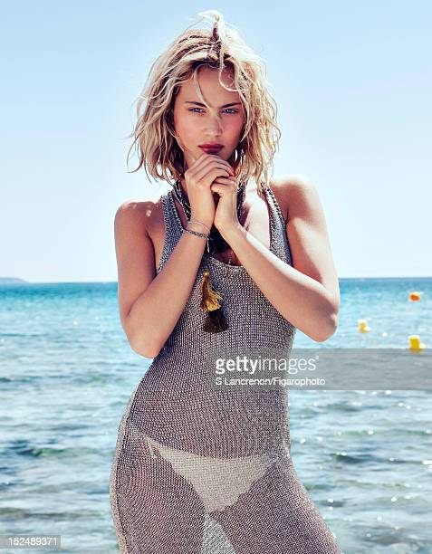Actress Nora Arnezeder poses for Madame Figaro on June 18 2012 in Corscia France PUBLISHED IMAGE Figaro ID 103882016 Dress by Zadig Voltaire bikini...