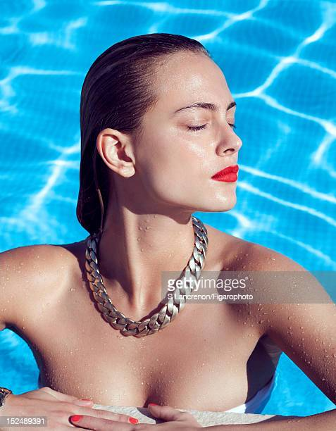 Actress Nora Arnezeder poses for Madame Figaro on June 18 2012 in Corscia France PUBLISHED IMAGE Figaro ID 103882022 Necklace and bracelet by Chanel...
