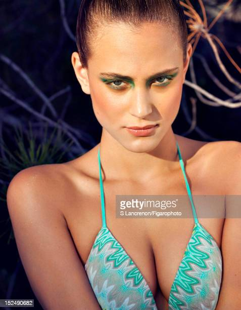 Actress Nora Arnezeder poses for Madame Figaro on June 18 2012 in Corscia France PUBLISHED IMAGE Figaro ID 103882029 Bikini top by Missoni Makeup by...