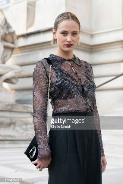 Actress Nora Arnezeder wears Giorgio Armani on July 02 2019 in Paris France