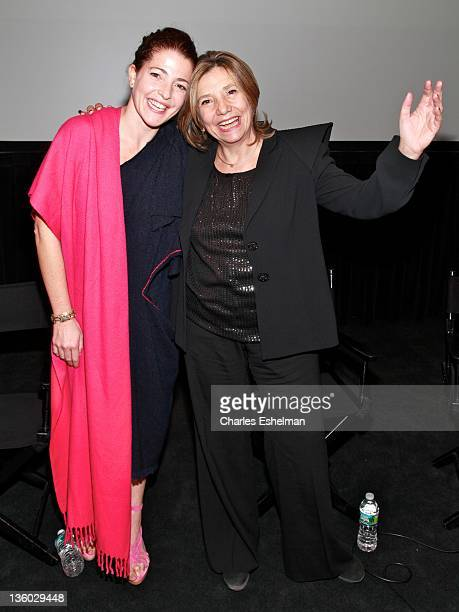 Actress Nora Navas and producer Isona Passola attend the screening of Black Bread at The Film Society of Lincoln Center on December 16 2011 in New...