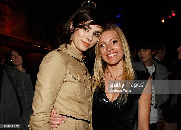 Actress Nora Tschirner and actress Nele Kiper attend the afterparty to the 'Offroad' premiere at cinema Kulturbrauerei on January 9 2012 in Berlin...