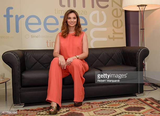 Actress Norma Ruiz attends a press presentation on embryo cryopreservation at the Eugin Clinic on June 18 2015 in Barcelona Spain
