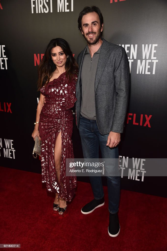 Actress Noureen DeWulf and NHL player Ryan Miller attend a special screening of Netflix's 'When We First Met' at ArcLight Hollywood on February 20, 2018 in Hollywood, California.